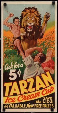 8b021 TARZAN ICE CREAM CUPS linen 10x21 advertising poster '34 art of jungle hero fighting a lion!