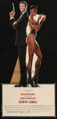 8b013 VIEW TO A KILL die-cut standee '85 art of Roger Moore as James Bond & Grace Jones by Goozee!