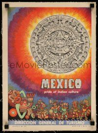 8b025 MEXICO PRIDE OF INDIAN CULTURE linen 12x16 Mexican travel poster '50s cool Aztec artwork!