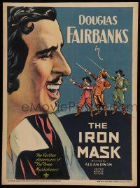8b061 IRON MASK WC '29 great stone litho of Douglas Fairbanks Sr. & The Three Musketeers!