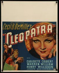 8b080 CLEOPATRA jumbo WC '34 sexy Claudette Colbert as the Princess of the Nile, Cecil B. DeMille