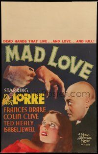 8b065 MAD LOVE WC '35 Peter Lorre has transplanted dead hands that live and love and kill, rare!