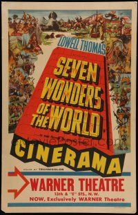 8b073 SEVEN WONDERS OF THE WORLD WC '56 travelogue of the famous landmarks in Cinerama, cool art!