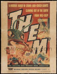 8b076 THEM linen WC '54 classic sci-fi, art of horror horde of giant bugs terrorizing people!