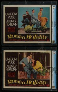 8b012 ROMAN HOLIDAY 8 slabbed LCs '53 Gregory Peck, Audrey Hepburn, directed by William Wyler!