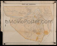 8d122 CITY OF LOWELL 22x28 map 1890s cool map of Lowell, Massachusetts from 19th century!