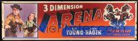 8m008 ARENA 3D paper banner '53 Gig Young, Jean Hagen, cool 3-D art of cowboy riding off the screen!