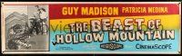 8m013 BEAST OF HOLLOW MOUNTAIN paper banner '56 Guy Madison, Patricia Medina & dinosaur monster!