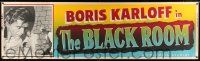 8m015 BLACK ROOM paper banner R55 Boris Karloff is the master of the house of horror!