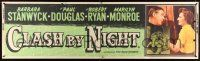 8m024 CLASH BY NIGHT paper banner '52 Fritz Lang, Barbara Stanwyck, Ryan, Marilyn Monroe shown!