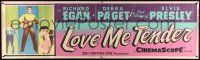 8m075 LOVE ME TENDER paper banner '56 1st Elvis Presley w/Debra Paget & playing guitar, ultra rare!