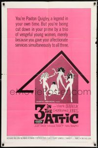 8p004 3 IN THE ATTIC 1sh '68 Yvette Mimieux, great sexy artwork of naked girls dancing!