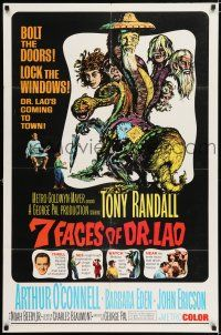 8p009 7 FACES OF DR. LAO 1sh '64 great art of Tony Randall's personalities by Joseph Smith!