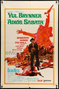 8p013 ADIOS SABATA int'l 1sh '71 Yul Brynner aims to kill, and his gun does the rest, cool art!