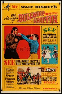 8p015 ADVENTURES OF BULLWHIP GRIFFIN style A 1sh '66 Disney, beautiful belles, mountain ox battle!