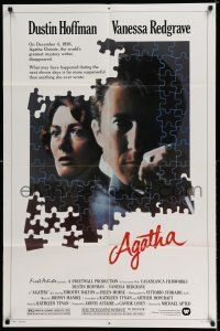 8p018 AGATHA 1sh '79 cool puzzle art of Dustin Hoffman & Vanessa Redgrave as Christie!