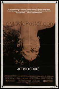 8p033 ALTERED STATES 1sh '80 William Hurt, Paddy Chayefsky, Ken Russell, sci-fi!