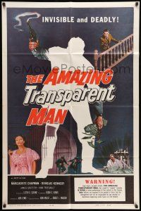 8p034 AMAZING TRANSPARENT MAN 1sh '59 Edgar Ulmer, cool fx art of the invisible & deadly convict!