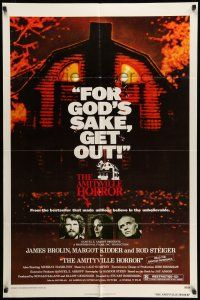 8p036 AMITYVILLE HORROR 1sh '79 great image of haunted house, for God's sake get out!