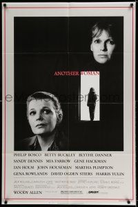 8p038 ANOTHER WOMAN 1sh '88 Gena Rowlands & Mia Farrow, directed by Woody Allen!