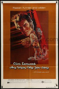 8p039 ANY WHICH WAY YOU CAN 1sh '80 cool artwork of Clint Eastwood by Bob Peak!