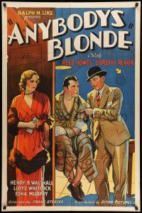 8p040 ANYBODY'S BLONDE 1sh '31 reporter Dorothy Revier plays w/ the fire of a boxer's affections!
