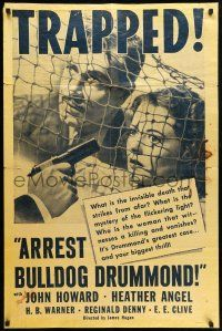 8p043 ARREST BULLDOG DRUMMOND 1sh R40s different image of John Howard & Heather Angel!