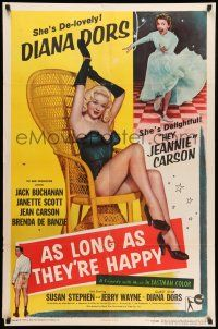 8p045 AS LONG AS THEY'RE HAPPY 1sh '57 sexy Diana Dors barely dressed in wicker chair!