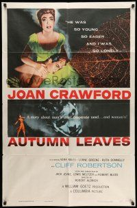 8p047 AUTUMN LEAVES 1sh '56 Cliff Robertson was young & eager and Joan Crawford was lonely!