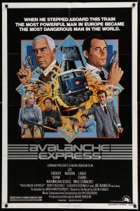 8p048 AVALANCHE EXPRESS 1sh '79 Lee Marvin, Robert Shaw, cool action art by Larry Salk!