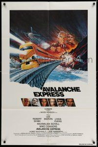 8p049 AVALANCHE EXPRESS int'l 1sh '79 Lee Marvin, Robert Shaw, cool action art by Larry Salk!