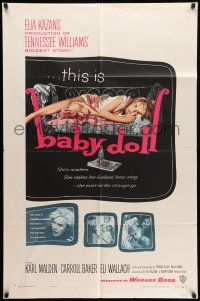 8p051 BABY DOLL 1sh '57 Elia Kazan, classic image of sexy troubled teen Carroll Baker!