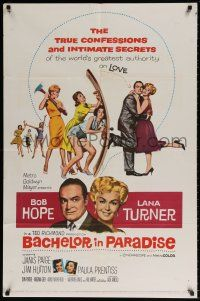 8p052 BACHELOR IN PARADISE 1sh '61 world's greatest lover Bob Hope romances sexy Lana Turner!