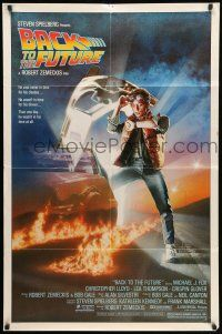 8p056 BACK TO THE FUTURE 1sh '85 Robert Zemeckis, art of Michael J. Fox & Delorean by Drew!