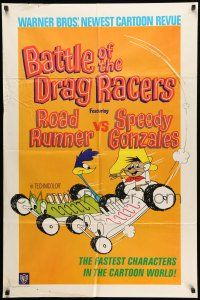 8p065 BATTLE OF THE DRAG RACERS 1sh '66 great art of Speedy Gonzales vs Road Runner in cars!