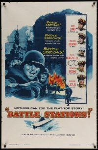 8p066 BATTLE STATIONS 1sh '56 John Lund, William Bendix, the story of Navy flat-tops!