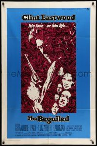 8p069 BEGUILED 1sh '71 cool psychedelic art of Clint Eastwood & Geraldine Page, Don Siegel