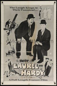 8p073 BEST OF LAUREL & HARDY 1sh R70s five great artwork images of Stan & Oliver!
