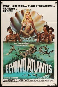 8p076 BEYOND ATLANTIS 1sh '73 great art of super sexy girl in clam with fish-eyed natives!