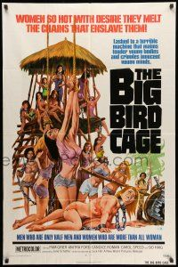 8p077 BIG BIRD CAGE 1sh '72 Pam Grier, Roger Corman, classic chained women art by Joe Smith!