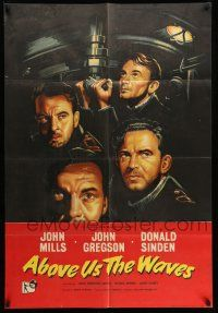8p012 ABOVE US THE WAVES English 1sh '56 John Mills & English WWII sailors at periscope in sub!