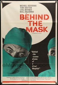 8p070 BEHIND THE MASK English 1sh '58 cool close up artwork of doctor Michael Redgrave!