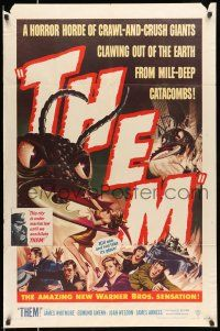 8p001 THEM 1sh '54 classic sci-fi, cool art of horror horde of giant bugs terrorizing people!