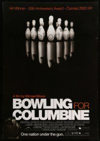 8t041 BOWLING FOR COLUMBINE Canadian 1sh '02 Michael Moore gun control documentary!