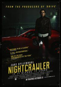 8t048 NIGHTCRAWLER advance Canadian 1sh '14 image of Jake Gyllenhaal with camera and sports car!