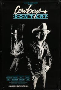 8t043 COWBOYS DON'T CRY Canadian 1sh '88 cool image of rodeo champs Ron White, Zachart Ansley!