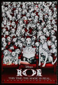 8w005 101 DALMATIANS teaser DS 1sh '96 Walt Disney live action, wacky image of dogs in theater!
