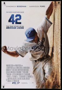 8w010 42 advance DS 1sh '13 baseball, image of Chadwick Boseman as Jackie Robinson sliding home!