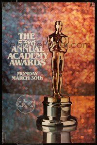8w011 53RD ANNUAL ACADEMY AWARDS 1sh '81 cool image of Oscar statue and sparkling background!