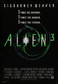 8w026 ALIEN 3 1sh '92 Sigourney Weaver, 3 times the danger, 3 times the terror!